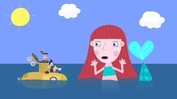 Die Meerjungfrau Ozeana ist entsetzt: Ihr Spiegel ist verschwunden. | Rechte: ZDF/Astley Baker Davies Ltd/Rubber Duck Entertainment