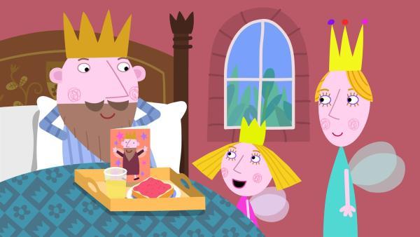 Heute ist im kleinen Königreich Vatertag und alle Väter haben frei, sogar König Aurikel muss nicht regieren. | Rechte: ZDF/Astley Baker Davies Ltd/Rubber Duck Entertainment