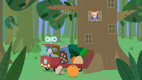 Da heute Vatertag im kleinen Königreich ist und alle Väter frei haben, übernimmt Nanny Plum die Arbeit von Mr. Elf und liefert die Essensbestellungen aus. | Rechte: ZDF/Astley Baker Davies Ltd/Rubber Duck Entertainment