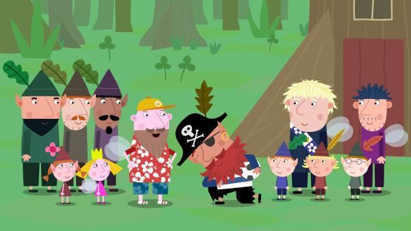 Auch Pirat Rotbart (Mitte) erscheint zum Vatertag. Aber von wem ist er der Vater oder ist er etwa der Sohn von jemandem? | Rechte: ZDF/Astley Baker Davies Ltd/Rubber Duck Entertainment