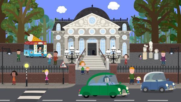 Heute machen einige Bewohner des kleinen Königreichs einen Ausflug ins Museum.  | Rechte: ZDF/Astley Baker Davies Ltd/Rubber Duck Entertainment