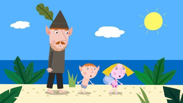 Mr. Elf, Ben und Holly auf der Insel.  | Rechte: ZDF/Astley Baker Davies Ltd/Rubber Duck Entertainment
