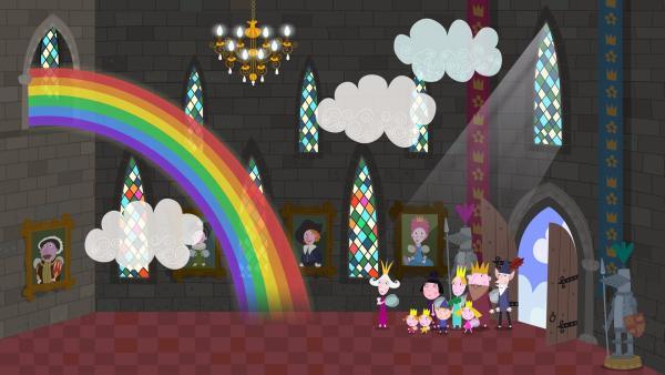 Statt einer Treppe hat Oma Aurikel in ihrem Zauberschloss einen wundervollen Regenbogen. | Rechte: ZDF/Astley Baker Davies Ltd/Rubber Duck Entertainment