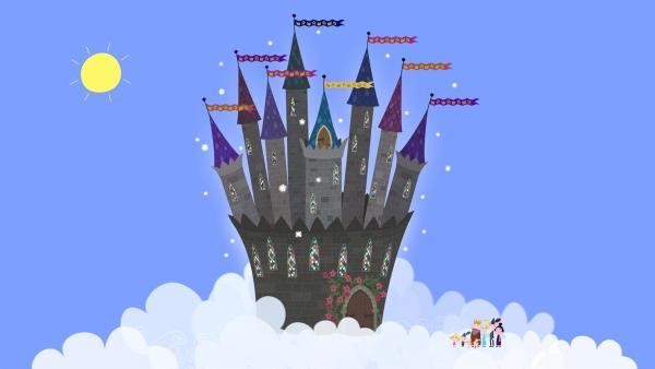 Das Zauberschloss von Oma und Opa Aurikel liegt mitten in den Wolken. Was wird die Bewohner des kleinen Königreich wohl dort erwarten? | Rechte: ZDF/Astley Baker Davies Ltd/Rubber Duck Entertainment
