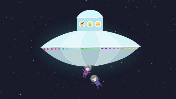 Auf dem Weg zum Planeten Bong versuchen Nanny Plum und der weise alte Elf das Raumschiff zu reparieren. | Rechte: ZDF/Astley Baker Davies Ltd/Rubber Duck Entertainment