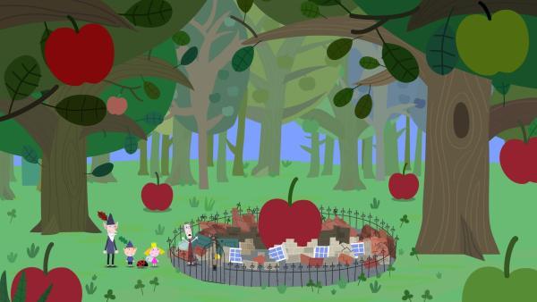 Die Zauberschule von Mrs. Hig wurde von einem Apfel getroffen und ist zu Bruch gegangen.   Rechte: ZDF/Astley Baker Davies Ltd/Rubber Duck Entertainment