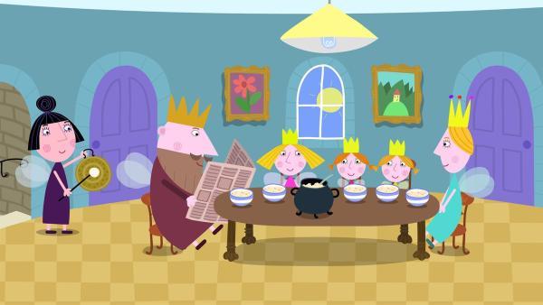 Nanny Plum verwöhnt die Königsfamilie mit einem leckeren Essen. | Rechte: ZDF/Contender Entertainment
