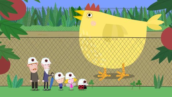 Ben und Holly staunen, wie groß die Tiere auf der Elfenfarm sind.   Rechte: ZDF/Astley Baker Davies Ltd/Rubber Duck Entertainment