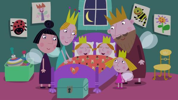 Die königliche Familie ist froh, dass die Zwillinge endlich schlafen.   Rechte: ZDF/Astley Baker Davies Ltd/Rubber Duck Entertainment