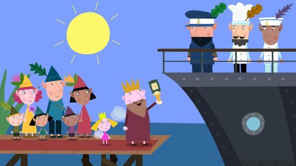 Holly ist dabei, als ihr Vater ein Schiff tauft.   Rechte: ZDF/Astley Baker Davies Ltd/Rubber Duck Entertainment