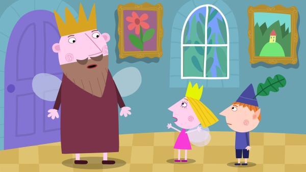 Ben und Holly holen den König zu Hilfe.   Rechte: ZDF/Astley Baker Davies Ltd/Rubber Duck Entertainment
