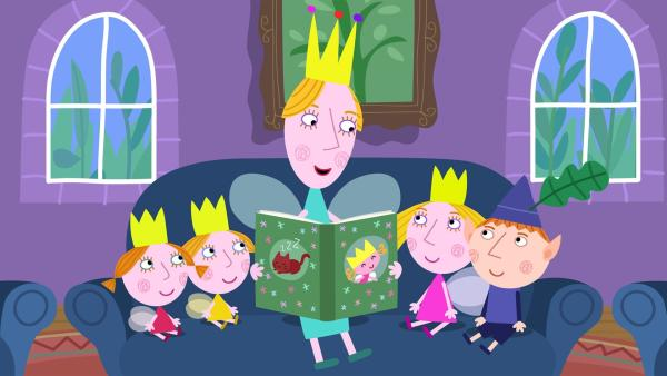 Die Königin liest den Kindern eine Geschichte über die Sterne vor. | Rechte: ZDF/Astley Baker Davies Ltd/Rubber Duck Entertainment