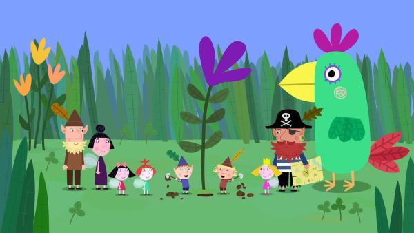 Rotbart, der Pirat, hat eine Schatzkarte mitgebracht. Die Kinder beginnen sofort nach dem Schatz zu suchen. | Rechte: ZDF/Astley Baker Davies Ltd/Rubber Duck Entertainment