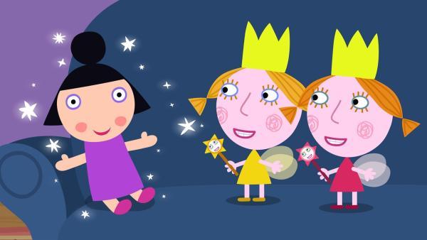 Die Zwillinge haben trotz Zauberverbot Nanny Plum in eine Puppe verwandelt. | Rechte: ZDF/Astley Baker Davies Ltd/Rubber Duck Entertainment