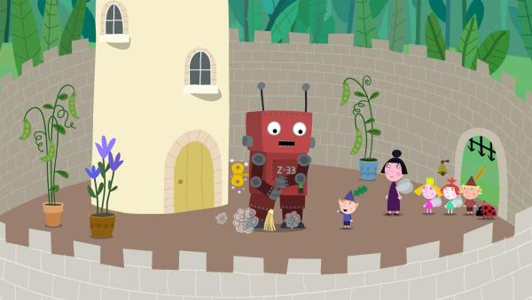 Der Spielzeugroboter soll im Schloss beim Putzen helfen. | Rechte: ZDF/Astley Baker Davies Ltd/Rubber Duck Entertainment