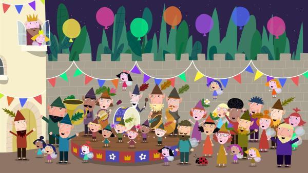 Alle bereiten dem König eine große Überraschungsparty zum Geburtstag. | Rechte: ZDF/Astley Baker Davies Ltd/Rubber Duck Entertainment