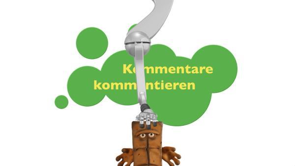 Bernd bezieht Stellung. In seiner Community hinterlassen Fans Kommentare und stellen eigenartige Fragen. Bernd hat für jeden eine passende Bemerkung parat. | Rechte: KiKA/bumm film München GmbH