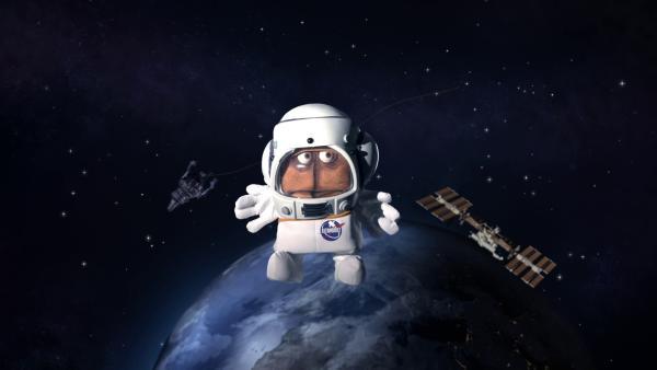 Endlich schwebt Bernd im All und sinniert über einen Spruch nach, den er der Menschheit hinterlassen will.   Rechte: KiKA/bumm film