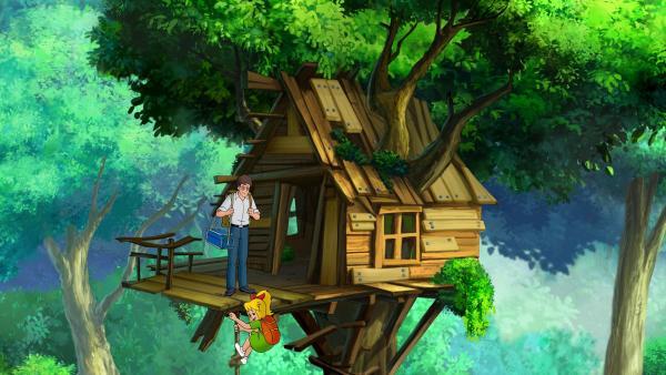 Was sind Bibi und Papa Bernhard doch für Glückspilze! Ein verlassenes Baumhaus mitten im Wald ganz für sie alleine.   Rechte: ZDF/A. Film A/S und KIDDINX Studios GmbH