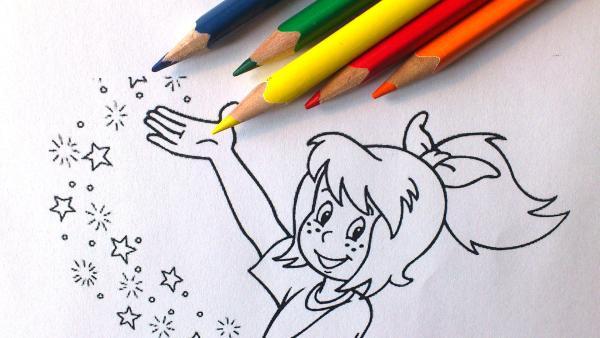 Bibi Blocksberg Ausmalbild mit Buntstiften