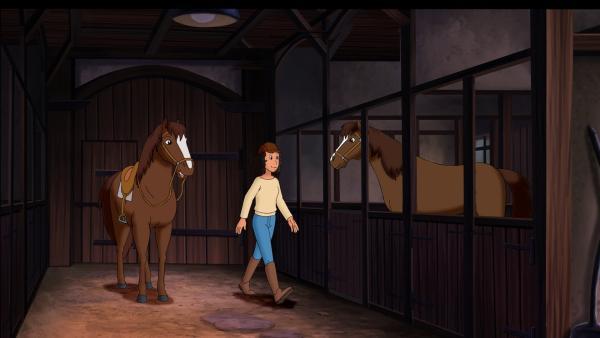 Melanie liebt ihr Pferd Elisa, die Zwillingsschwester von Ella. Leider lahmt es. In ihrer Not vertauscht sie die beiden Pferde. | Rechte: ZDF/Kiddinx - Berlin