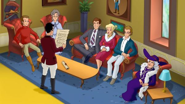 Der Graf hat die Familie zu einem Fest eingeladen und liest ihnen ein Rätsel des Schlossgründers Leo von Falkenstein vor. | Rechte: ZDF/KIDDINX Studios GmbH