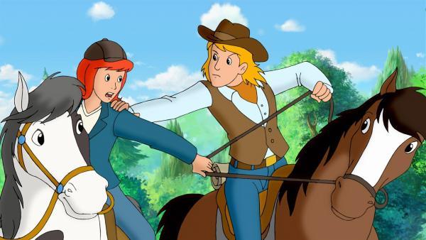 Der Dieb hat Amadeus gestohlen und Tina versucht, ihn zu befreien. | Rechte: ZDF/KIDDINX Studios GmbH