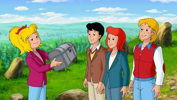 Bibi, Tina, Alex und Freddy haben den Schatz gefunden. | Rechte: ZDF/KIDDINX Studios GmbH