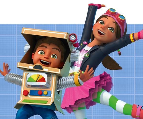 Die zehnjährige Bitz (3.v.li.) ist Erfinderin und Ingenieurin. Gemeinsam mit ihrem kleinen Bruder Bob (4.v.li.) baut sie aus allem was sie findet die fantastischsten Dinge. Begleitet werden Bitz und Bob dabei von ihren besten Freunden, der Strickpuppe Fleur und der Action-Held-Figur Bevel. | Rechte: KiKA/BBC & Boat Rocker Rights Inc. MMXVIII