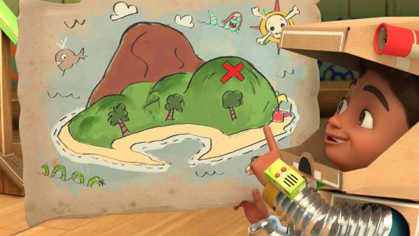 Dank der Karte weiß Bob, wo der Schatz versteckt ist. | Rechte: KiKA/BBC/Boat Rocker Rights Inc. MMXVIII