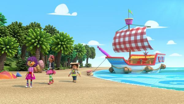 Die Schatzsuche führt Bitz, Bob und Fleur auf Weit-weit-weg-Insel.   Rechte: KiKA/BBC/Boat Rocker Rights Inc. MMXVIII