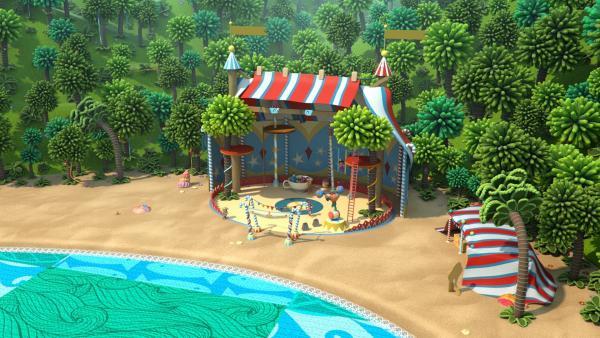 Auf der Weit-weit-weg-Insel hat ein Zirkus sein Zelt aufgebaut. | Rechte: KiKA/BBC/Boat Rocker Rights Inc. MMXVIII
