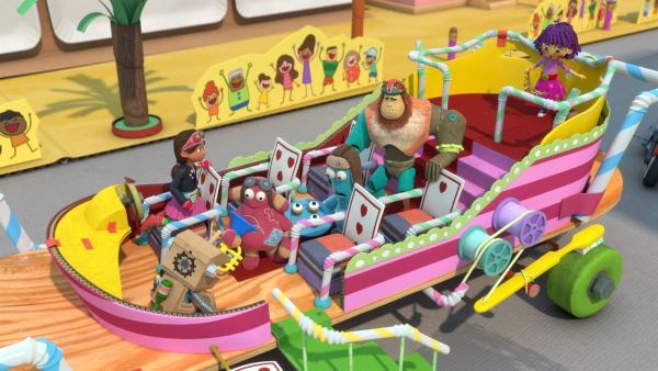 Prinzessin Fleur wird in der hoheitlichen Kutsche durch die Stadt gefahren. | Rechte: KiKA/BBC/Boat Rocker Rights Inc. MMXVIII