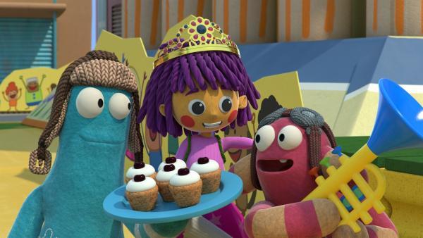 Zip und Pop lassen die Prinzessin hochleben. | Rechte: KiKA/BBC/Boat Rocker Rights Inc. MMXVIII
