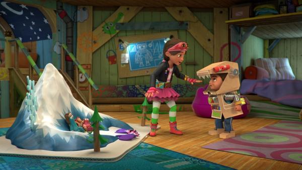 Bob ist als Robo-Wolf auf der Suche nach den drei kleinen Schweinchen. | Rechte: KiKA/BBC/Boat Rocker Rights Inc. MMXVIII