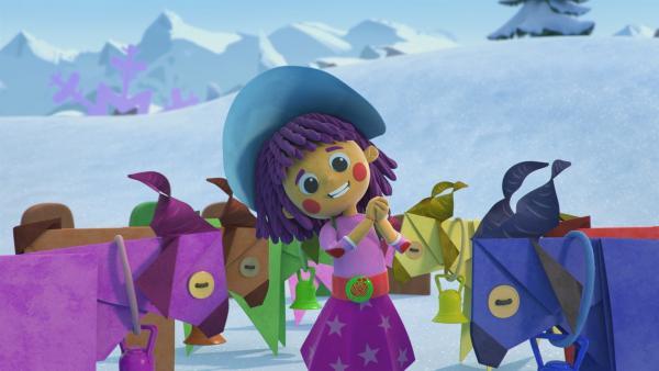 Die kleine Fleur möchte mit ihren Schneeziegen bei der Gala auftreten.   Rechte: KiKA/BBC/Boat Rocker Rights Inc. MMXVIII