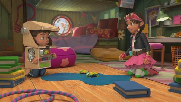Bitz und Bob hüpfen in ihrem Abenteuer auf die Weit-weig-weg-Insel. | Rechte: KiKA/BBC/Boat Rocker Rights Inc. MMXVIII