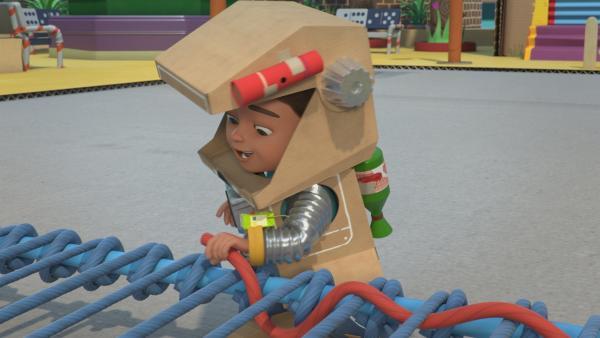 Super-Mega-Robo-Bob fädelt den Plan zur Ergreifung der Krachmacher ein. | Rechte: KiKA/BBC/Boat Rocker Rights Inc. MMXVIII