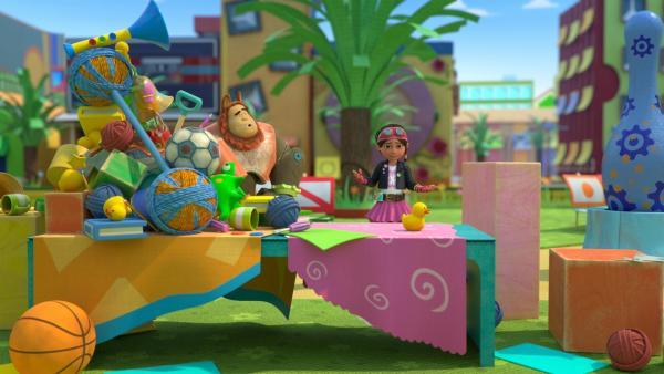 Chef-Spielzeug-Aufsteller Bevel überrascht Bitz mit seiner Dekoration. | Rechte: KiKA/BBC/Boat Rocker Rights Inc. MMXVIII