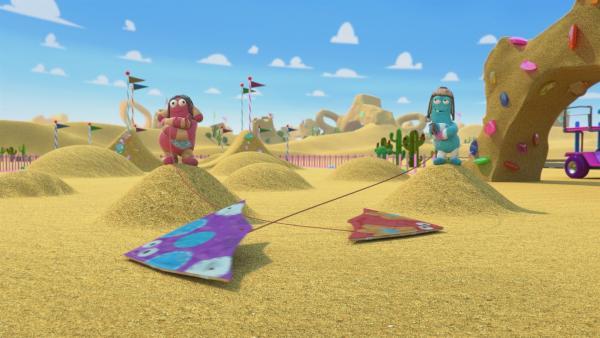 Zip und Pop haben mit ihren Drachen eine echte Glanznummer hingelegt. | Rechte: KiKA/BBC/Boat Rocker Rights Inc. MMXVIII