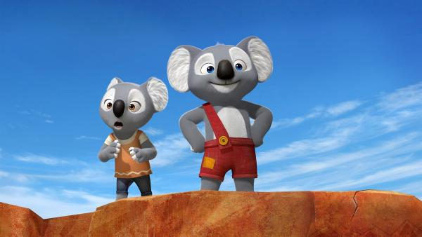 Das Koala-Mädchen Katie ist das Leben in Freiheit nicht gewöhnt. Blinky zeigt ihr die Weiten des Outbacks. | Rechte: KiKA/Assemblage Entertainment/Flying Bark Productions/Telegael
