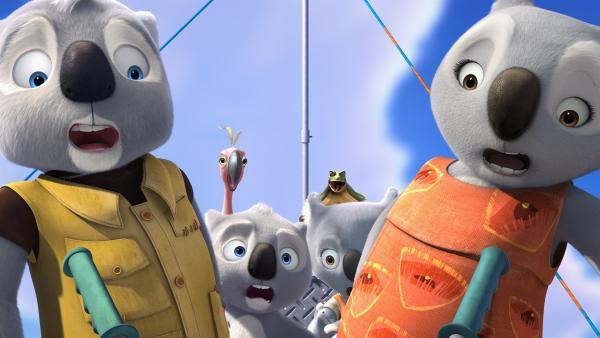 Im Sturzflug: (v.l.) Mr. Bill, Jorge, Blinky, Jacko, Katie und Mrs. Bill. | Rechte: KiKA/Assemblage Entertainment/Flying Bark Productions/Telegael