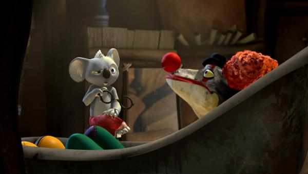 Cranky erzählt seinem Psychotherapeuten Blinky von seiner Ballonphobie. | Rechte: KiKA/Studio 100 Media / Flying Bark