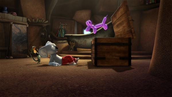 Blinky und Jacko werden von einem fies grinsenden Luftballonhund bedroht.  | Rechte: KiKA/Studio 100 Media / Flying Bark