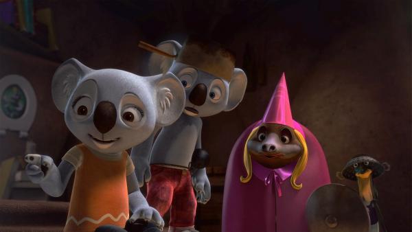 Ritter Blinky und Ritter Jack wollen Spike und Katie retten, doch die sehen gar nicht so aus, als ob sie die gerettet werden müssen.    Rechte: Studio 100 Media / Flying Bark