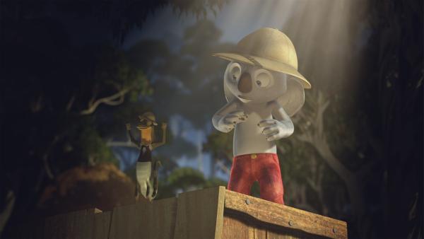 Jacko und Blinky streiten sich, wer von Ihnen als Entdecker des Bunyip gefeiert wird. | Rechte: KiKA/Studio 100 Media / Flying Bark