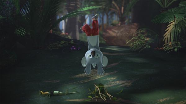 Auf ihrer Jagd nach dem Bunyip geraten Blinky und Jacko in eine Falle.  | Rechte: KiKA/Studio 100 Media / Flying Bark