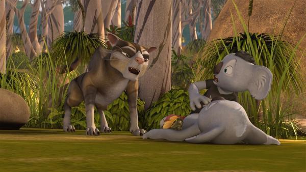 Blinky, Jacko und ein fremder Koala werden von Sir Charles gejagt.    Rechte: KiKA/Studio 100 Media / Flying Bark