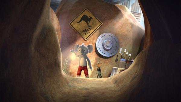 Ob Blinky und Jacko sich wirklich in Wombos dunklen Tunnel  trauen, um dort nach Wombos verlorenen Murmeln zu suchen? | Rechte: KiKA/Studio 100 Media / Flying Bark