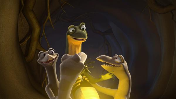 Die Skinke halten Jacko für den Bringer des Lichts.  | Rechte: KiKA/Studio 100 Media / Flying Bark
